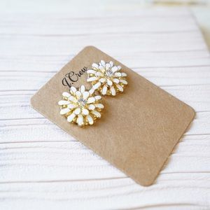 J.Crew Enamel Flower Studs in White
